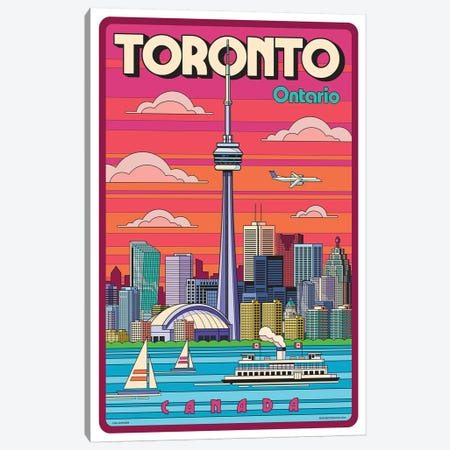 Toronto Pop Art Travel Poster 3-Piece Canvas #JZA52} by Jim Zahniser Canvas Print
