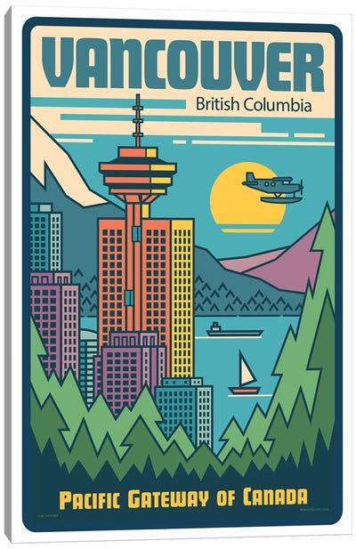 Vancouver Pop Art Travel Poster Canvas Art Print