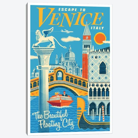 Venice Travel Poster I Canvas Print #JZA54} by Jim Zahniser Canvas Artwork