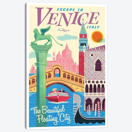 Venice Travel Poster II Canvas Print #JZA55} by Jim Zahniser Canvas Wall Art