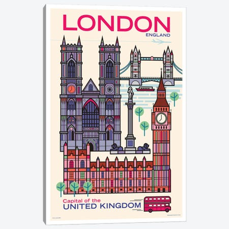 London Travel Poster 3-Piece Canvas #JZA57} by Jim Zahniser Canvas Artwork