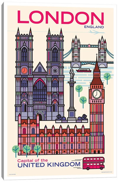 London Travel Poster Canvas Art Print
