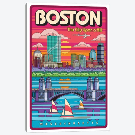 Boston Pop Art Travel Poster Canvas Print #JZA58} by Jim Zahniser Canvas Art Print
