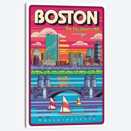 Boston Pop Art Travel Poster Canvas Print #JZA58} by Jim Zahniser Canvas Art Print