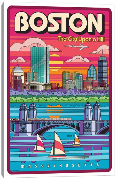 Boston Pop Art Travel Poster Canvas Art Print