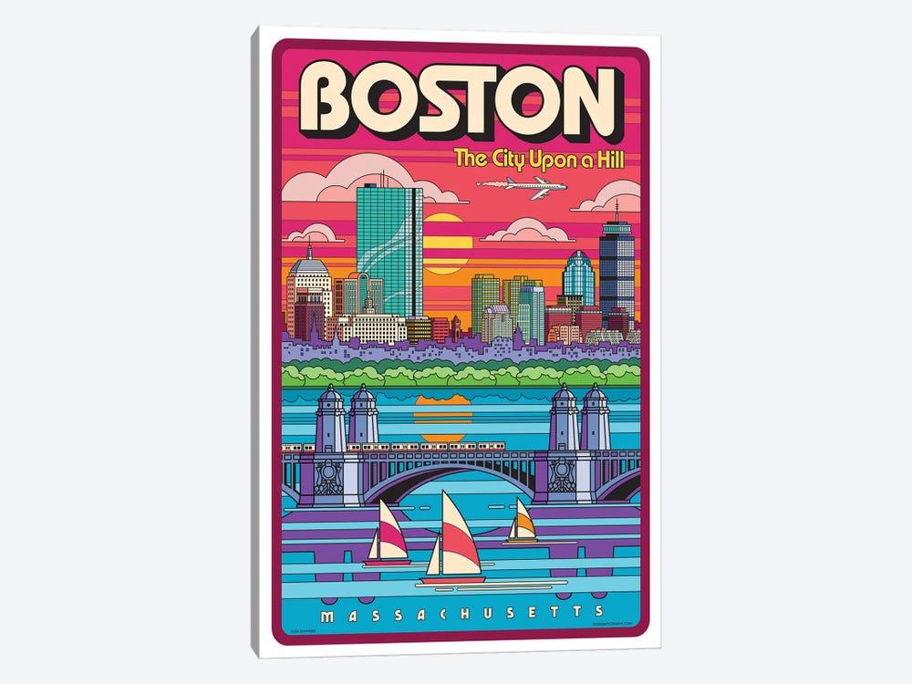Boston Pop Art Travel Poster by Jim Zahniser 1-piece Canvas Wall Art