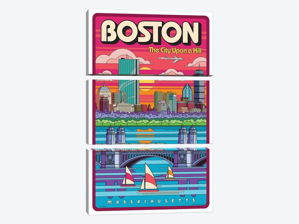 Boston Pop Art Travel Poster by Jim Zahniser 3-piece Canvas Artwork