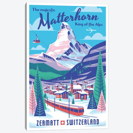 Matterhorn Switzerland Travel Poster Canvas Print #JZA59} by Jim Zahniser Art Print