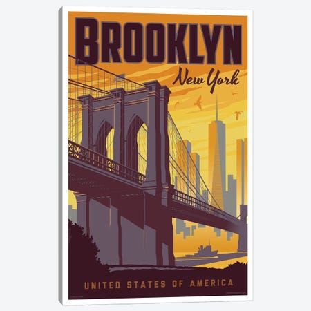 Brooklyn Bridge Travel Poster Canvas Print #JZA5} by Jim Zahniser Art Print