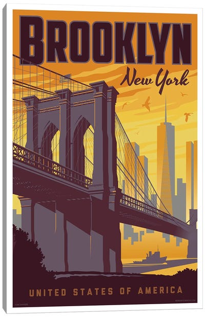 Brooklyn Bridge Travel Poster Canvas Art Print