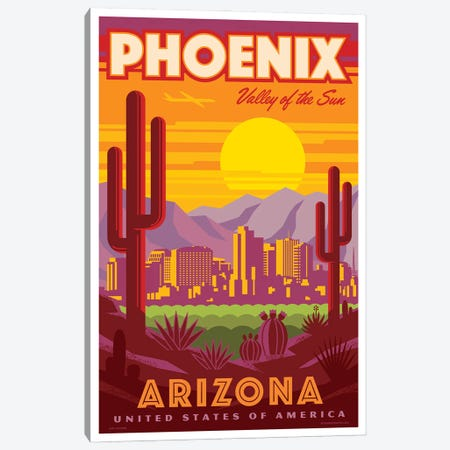 Phoenix Travel Poster Canvas Print #JZA60} by Jim Zahniser Canvas Wall Art