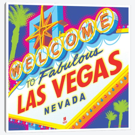 Welcome to Las Vegas Sign Pop Art Travel Poster Canvas Print #JZA61} by Jim Zahniser Canvas Wall Art