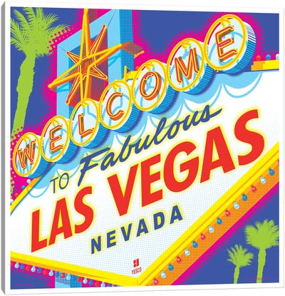 Welcome to Las Vegas Sign Pop Art Travel Poster Canvas Art Print