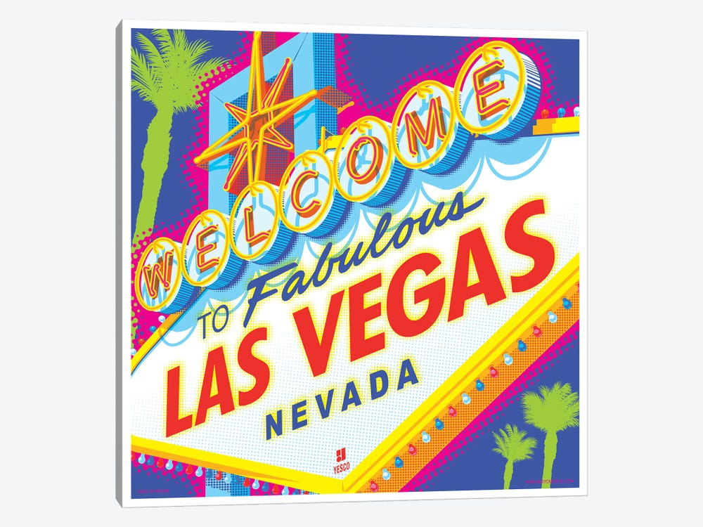 Welcome to Las Vegas Sign Pop Art Travel Poster by Jim Zahniser 1-piece Canvas Wall Art