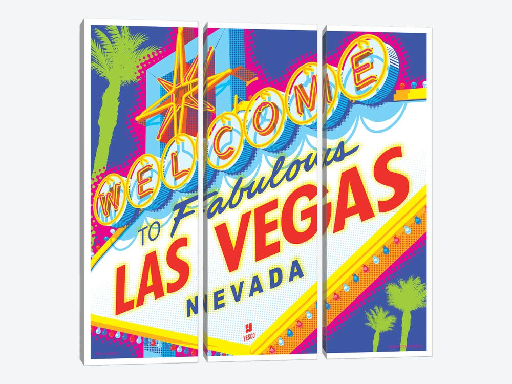 Welcome to Las Vegas Sign Pop Art Travel Poster by Jim Zahniser 3-piece Canvas Art