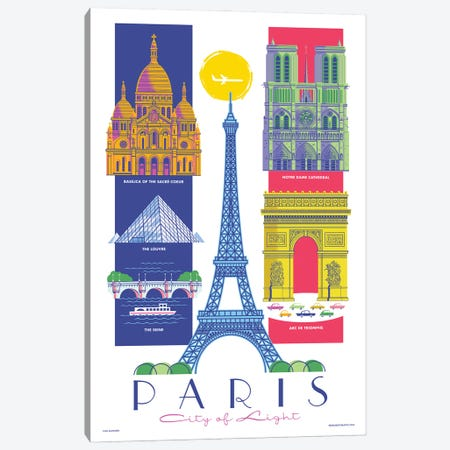 Paris Travel Poster Canvas Print #JZA62} by Jim Zahniser Canvas Wall Art