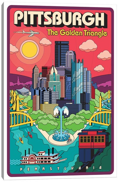 Pittsburgh Pop Art Travel Poster Canvas Art Print