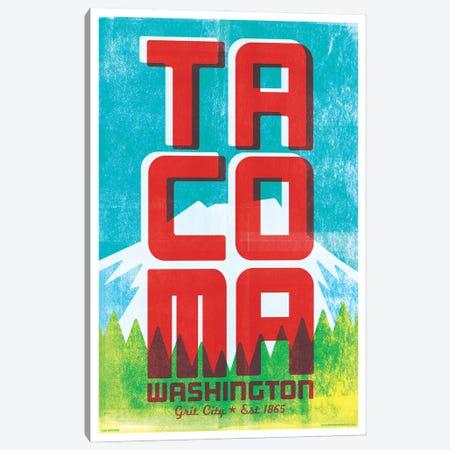 Tacoma Typography Travel Poster Canvas Print #JZA64} by Jim Zahniser Art Print