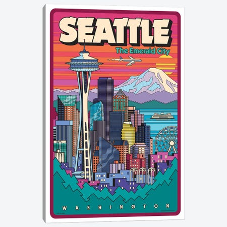 Seattle Pop Art Canvas Print #JZA65} by Jim Zahniser Art Print