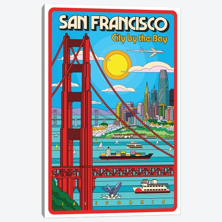 San Francisco Pop Art Travel Poster Canvas Print #JZA67} by Jim Zahniser Canvas Print