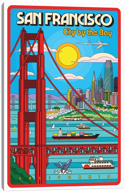 San Francisco Pop Art Travel Poster Canvas Art Print
