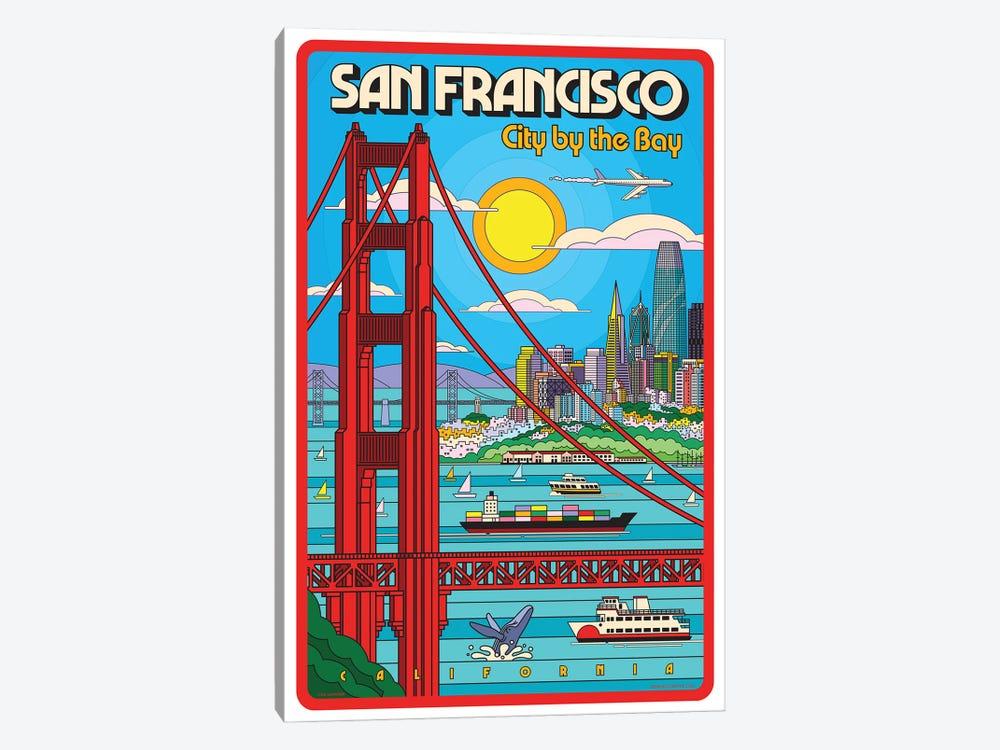 San Francisco Pop Art Travel Poster by Jim Zahniser 1-piece Canvas Art
