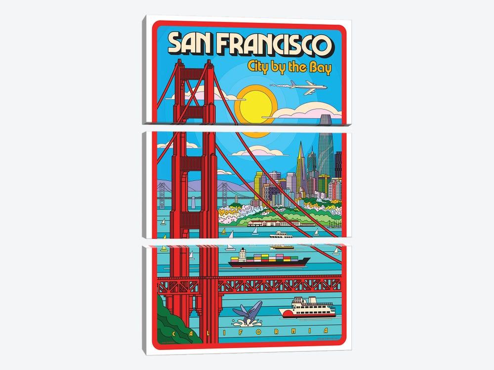 San Francisco Pop Art Travel Poster by Jim Zahniser 3-piece Canvas Art