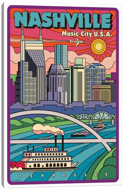 Nashville Pop Art Travel Poster New Canvas Art Print