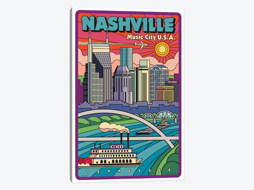 Nashville Pop Art Travel Poster New by Jim Zahniser 1-piece Canvas Print