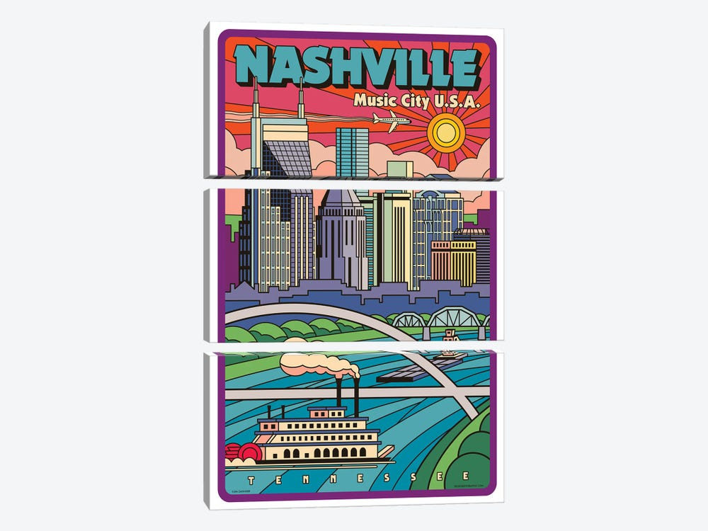 Nashville Pop Art Travel Poster New by Jim Zahniser 3-piece Art Print