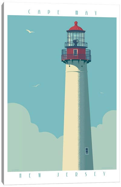 Cape May Lighthouse Travel Poster Canvas Art Print