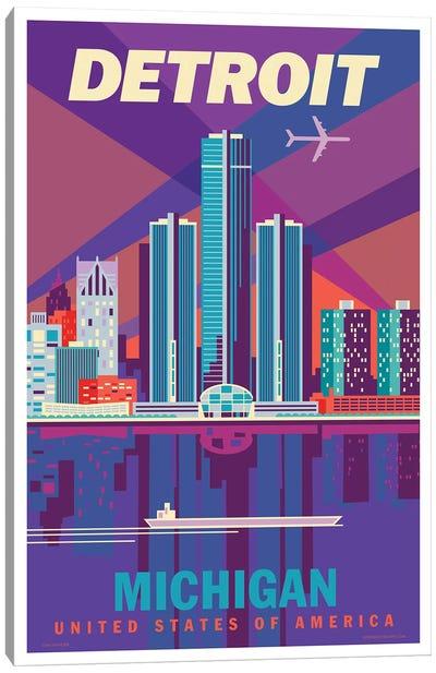 Detroit Travel Poster Canvas Art Print