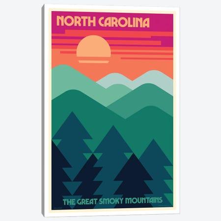 North Carolina Retro Travel Poster Canvas Print #JZA73} by Jim Zahniser Art Print