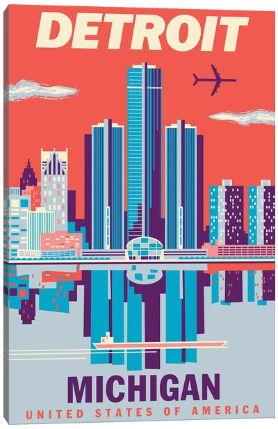 Detroit Travel Poster 2 Canvas Art Print