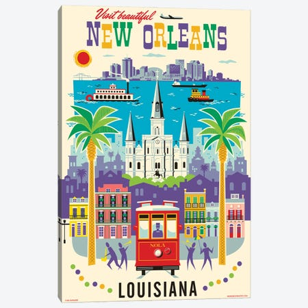 New Orleans Travel Poster Canvas Print #JZA75} by Jim Zahniser Canvas Wall Art