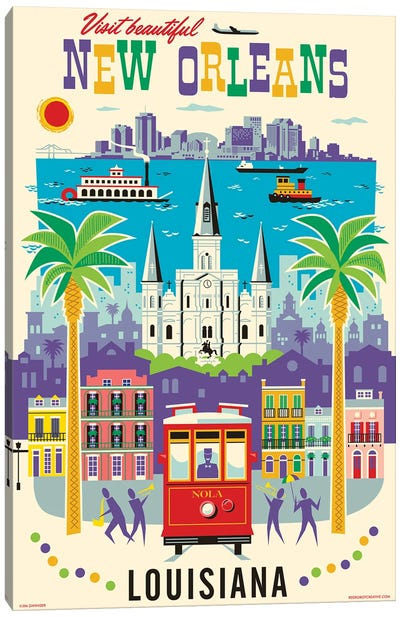 New Orleans Travel Poster Canvas Art Print