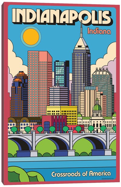 Indianapolis Pop Art Travel Poster Canvas Art Print