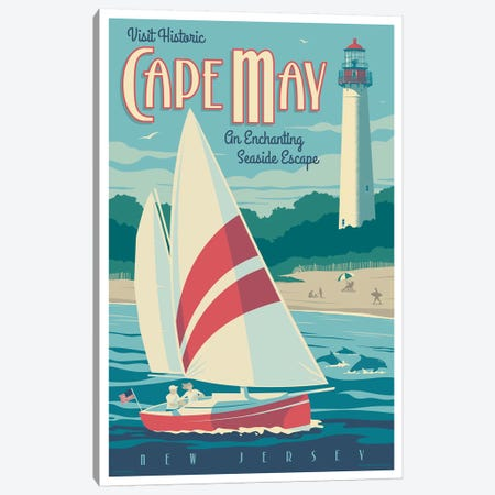 Cape May Travel Poster Canvas Print #JZA7} by Jim Zahniser Canvas Print