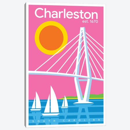 Charelston Modern Travel Poster Canvas Print #JZA8} by Jim Zahniser Canvas Art