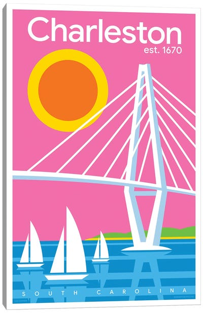 Charelston Modern Travel Poster Canvas Art Print