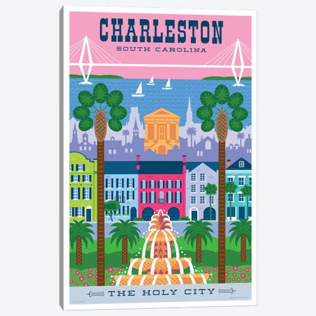 Charelston Travel Poster Canvas Print #JZA9} by Jim Zahniser Canvas Art