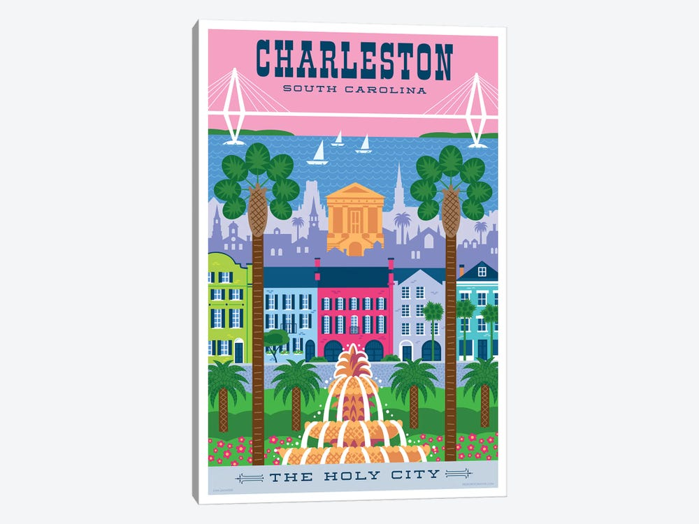 Charelston Travel Poster by Jim Zahniser 1-piece Canvas Print