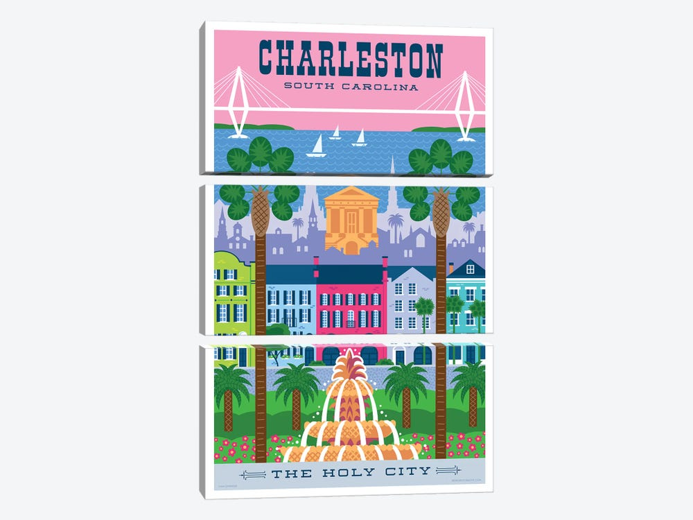 Charelston Travel Poster by Jim Zahniser 3-piece Canvas Art Print
