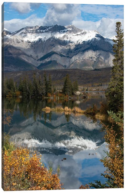 Canada, Alberta. Autumn reflections at Talbot Lake, Jasper National Park. Canvas Art Print