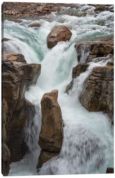 Canada, Alberta. Sunwapta Falls detail, Jasper National Park. Canvas Art Print