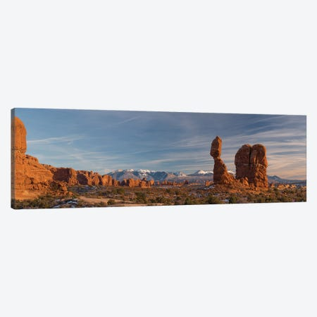 USA, Utah. Panoramic image of Balanced Rock at sunset, Arches National Park. Canvas Print #JZI16} by Judith Zimmerman Canvas Wall Art