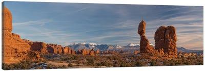 USA, Utah. Panoramic image of Balanced Rock at sunset, Arches National Park. Canvas Art Print