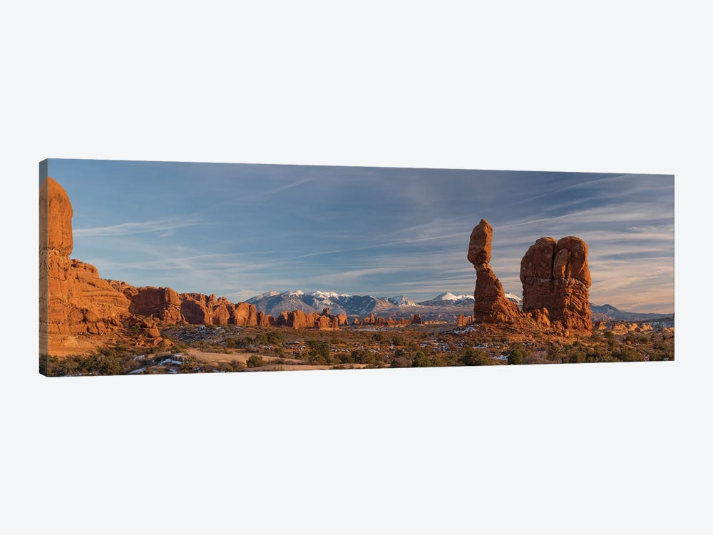 USA, Utah. Panoramic image of Balanced Rock at sunset, Arches National Park. by Judith Zimmerman 1-piece Canvas Print
