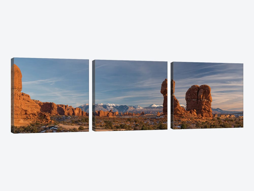 USA, Utah. Panoramic image of Balanced Rock at sunset, Arches National Park. by Judith Zimmerman 3-piece Canvas Art Print