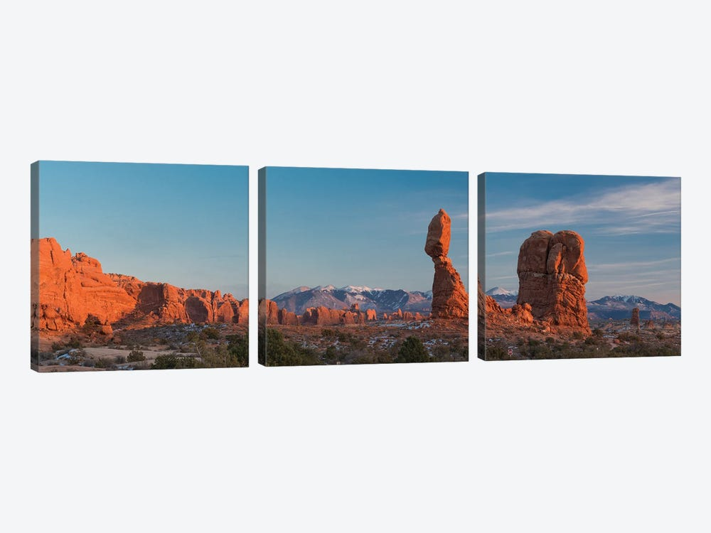 USA, Utah. Balanced rock at sunset, Arches National Park. by Judith Zimmerman 3-piece Canvas Artwork